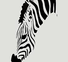 Grazing Zebra Vector Isolated On White Womens Fitted T-Shirt