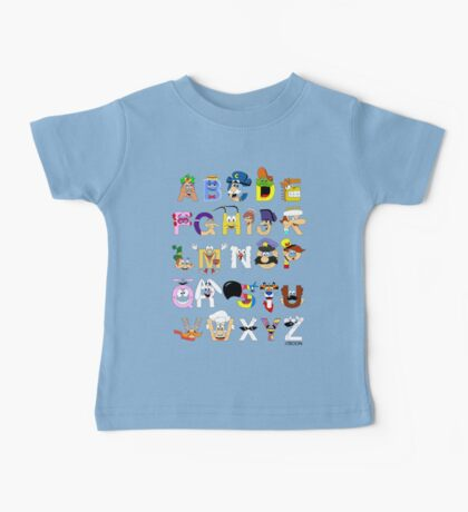 Breakfast Mascot Alphabet Baby Tee