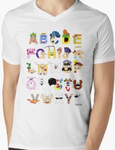 Breakfast Mascot Alphabet Mens V-Neck T-Shirt