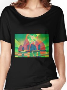 Sea of Green With Cubist Abstract Junks Women's Relaxed Fit T-Shirt