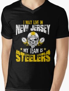 I May Live In New Jersey. My Team Is Steelers. Mens V-Neck T-Shirt
