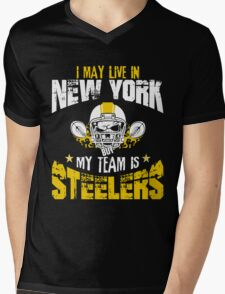 I May Live In New York. My Team Is Steelers. Mens V-Neck T-Shirt