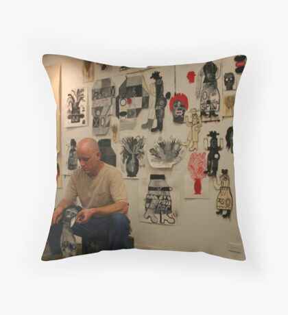 In the Studio - Working Throw Pillow