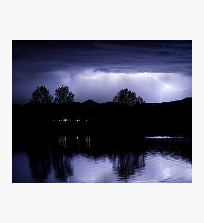 Lightning Over Coot Lake Photographic Print