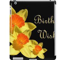 Daffodils Isolated On Black Birthday Wishes iPad Case/Skin