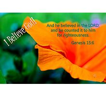 And He Believed in the Lord. . . Photographic Print