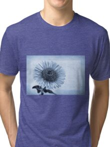 Cyanotype Aster with Textures Tri-blend T-Shirt
