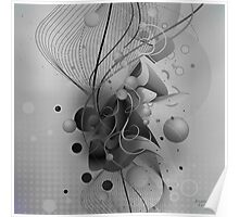 Black And White Abstract Digital Art-Dynamic Shapes And Lines Poster