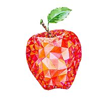 Low Poly Watercolor Apple by LidiaP