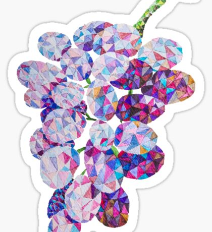 Low Poly Watercolor Grapes Sticker