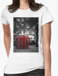 Red Telephone Boxes Womens Fitted T-Shirt
