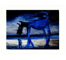 walking with the old blue dog Art Print