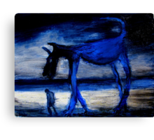 walking with the old blue dog Canvas Print