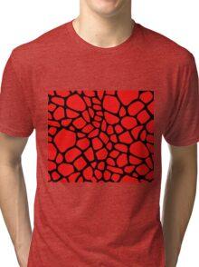 Giraffe Pattern (Red on Black) Tri-blend T-Shirt