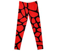 Giraffe Pattern (Red on Black) Leggings