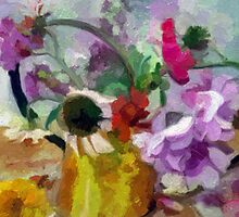 Summer Bouquet in a Copper Watering Can by suzannem73