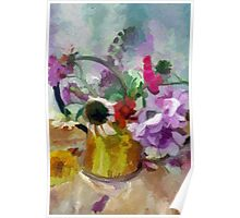 Summer Bouquet in a Copper Watering Can Poster
