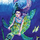 Ocean mermaid catches a turtle ride by didielicious