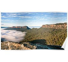 Rugged Misty View of Mt Solitary  Poster