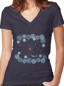 Funny birds bullfinch on winter background snowflakes Women's Fitted V-Neck T-Shirt