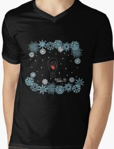 Funny birds bullfinch on winter background snowflakes Mens V-Neck T-Shirt