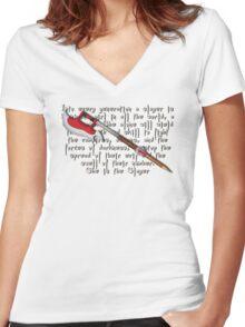 Buffy Slayer Scythe Women's Fitted V-Neck T-Shirt