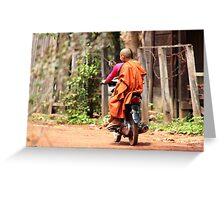 Monk on a Moped Greeting Card