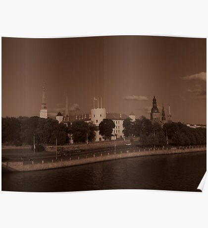 Spires & Towers, Riga ( Sepia ) Poster