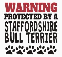 Protected By A Staffordshire Bull Terrier One Piece - Long Sleeve