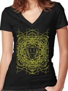 Crop Cirlces - yellow Women's Fitted V-Neck T-Shirt