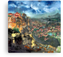 Thunderstorm over Meteora, Greece. Canvas Print