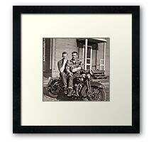 Hans and Bryce Smoking on the Harley (reconstruction) Framed Print