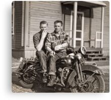 Hans and Bryce Smoking on the Harley (reconstruction) Canvas Print