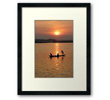 Red Sun Falling on the Mekong  Framed Print
