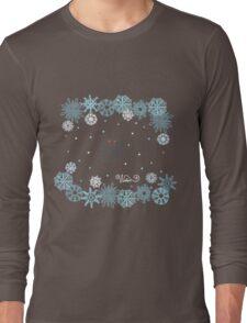 Funny birds bullfinch on winter background snowflakes Long Sleeve T-Shirt