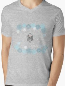 Funny birds bullfinch on winter background snowflakes Mens V-Neck T-Shirt
