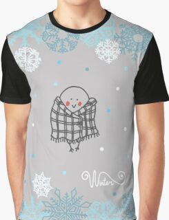 Funny birds bullfinch on winter background snowflakes Graphic T-Shirt