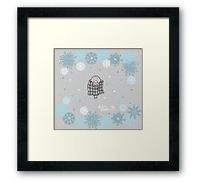 Funny birds bullfinch on winter background snowflakes Framed Print