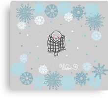 Funny birds bullfinch on winter background snowflakes Canvas Print