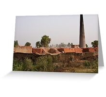 Brick kiln and pile of bricks Greeting Card