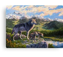 Mountain Valley Wolves - Mother Wolf and Pups Canvas Print