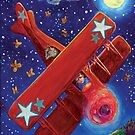 Boy pilot and red Aeroplane by didielicious