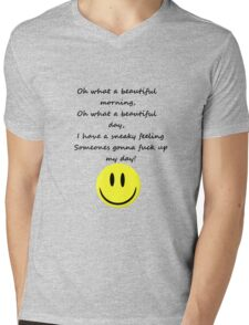 Naughty Smiley with Text Mens V-Neck T-Shirt