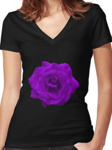 Single Large High Resolution Purple Rose Women's Fitted V-Neck T-Shirt