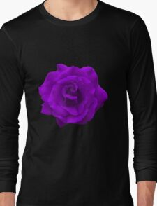 Single Large High Resolution Purple Rose Long Sleeve T-Shirt