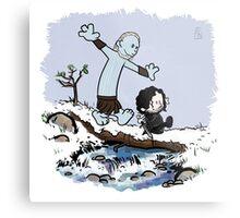 Calvin and Hobbes Beyond the Wall Metal Print