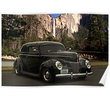 1940 Ford Deluxe Hot Rod at Yosemite Falls Poster