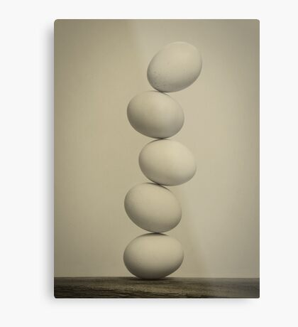 Balancing Eggs Metal Print
