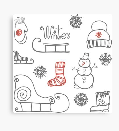 Freehand drawing Winter holiday Canvas Print