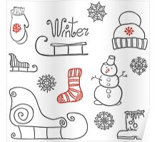 Freehand drawing Winter holiday Poster